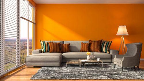 Помаранчева вітальня – навіть колір зігріває!